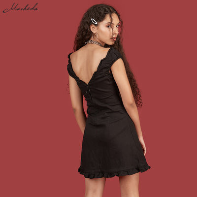Macheda Mini Backless Summer Dress Women V Collar Lace Up Sleeveless Short Beach Dress Solid Casual Dress Female Vestidos