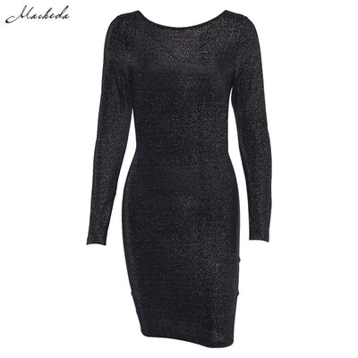 Macheda Cross Bandage Backless Sexy Bodycon Dress Women Skinny Long Sleeve O Neck Autumn Casual Knee-Length Dress Black New