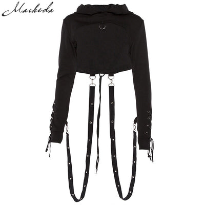 Macheda Short Gothic Women Hoodies Back Lace Up Sexy Cropped Top Long Sleeve Street Casual Sweatshirt Tracksuit Hoody