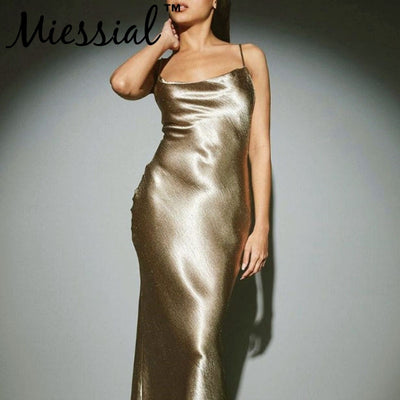 Miessial Sexy satin backless bodycon dress Women summer bandage maxi dress elegant Female party club holiday beach spring dress