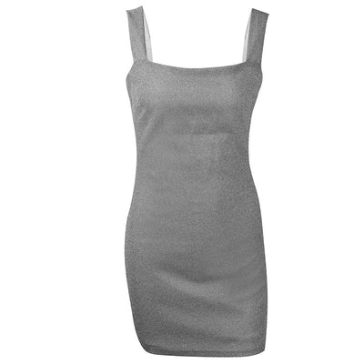 Mini Summer Sparkly Backless Dress Women Square Collar Sleeveless Sexy Bodycon Dress Beach Casual Party Dress Short 648
