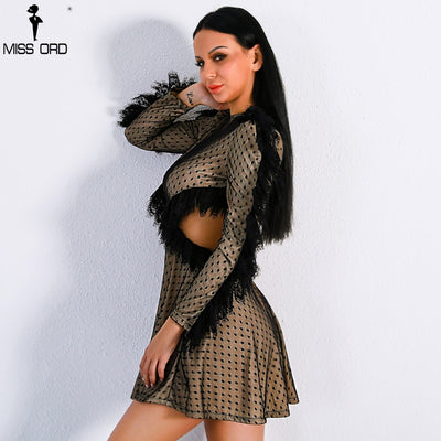 Missord Sexy Long Sleeve Lace Decoration Backless Dresses Women High Neck Mottle Mini Dress FT8896