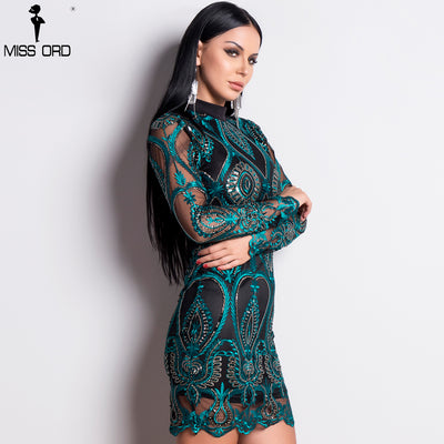Missord Sexy Women Long Sleeve Sequin Backless Dresses Women Hollow Out Maxi Party Elegant Bodycon Dress FT9564