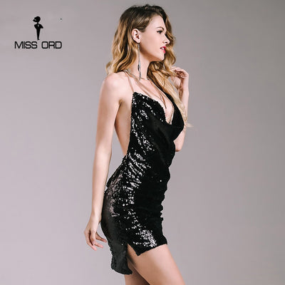 Missord Sexy sleeveless Deep-V halter split sequin dress backless metal Christmas party Reflective dress FT4928