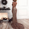 Missord Sexy v neck Elegant Striped Backless Women Dresses Sequin Bodycon Maxi Party Reflective Dress Vestidos FT8928