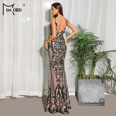 Missord Women Sexy O Neck Sleeveless Backless Retro Geometric Sequin Dresses Female Elegant Party Dress Vestdios FT18773