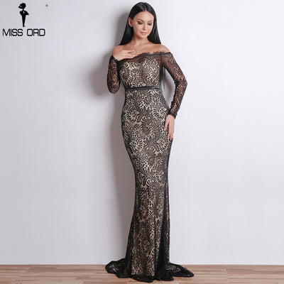 Missord Women Sexy Off Shoulder Lace Dresses Female Backless Maxi Elegant Party Dress Vestdios FT18306-2