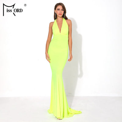 Missord Women Sexy V Neck Off Shoulder Summer Maxi Dresses Female Backless Solid Color Elegant Long Dress FT19020