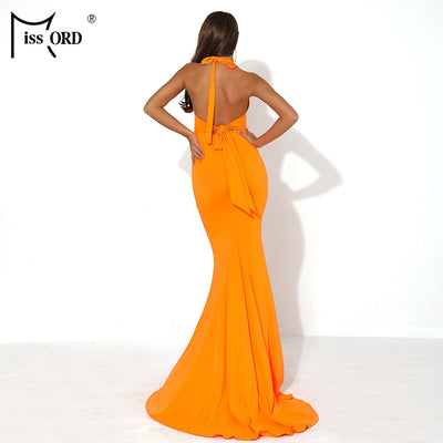 Missord Women Sexy V Neck Off Shoulder Summer Maxi Dresses Female Backless Solid Color Elegant Long Dress FT19020-1