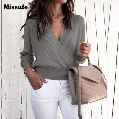 Missufe Winter Casual Long Sleeve Pullovers Female Fashion Autumn Sweaters Sexy Deep V Neck Long Sleeve Knitted Women Sweater