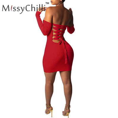 MissyChilli Sexy knitted off shoulder backless dress Women bodycon lace up cross mini dress Casual elegant red short party dress
