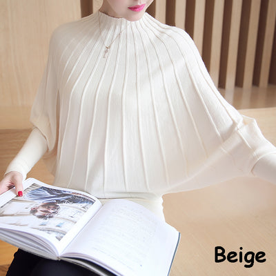 Mode Femme Automne Fashion Autumn Winter Women Knitted Sweaters and Pullovers Batwing Sleeve Long Knitwear Chandail Femme