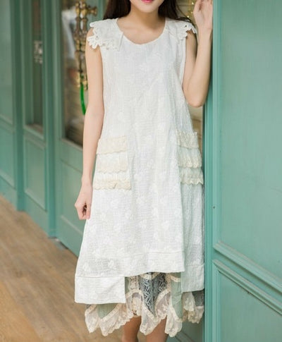 Mori Girl Lace Embroidery White Fairy Tank Dress Robe Courte Longue Largo Women Cute Kawai Dress HIppie Boho Vestido Casual Mori