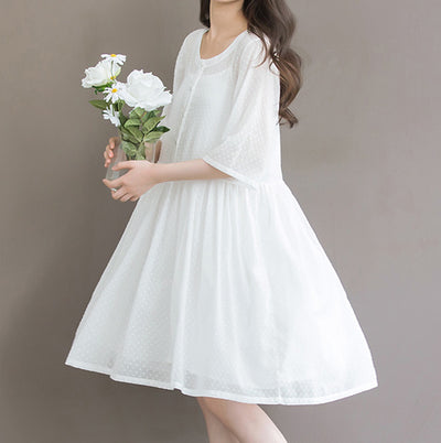 Mori Girl White Fairy Cotton Dress Loose Casual Preppy Linen Pleated Women Dress Vestido Hippie Boho Student Dresses Mori Girl