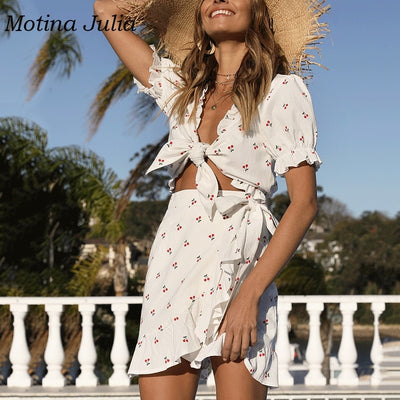 Motina Julia summer boho beach cherry print dress women bow ruffle two piece dress streetwear female vestidos mini dress