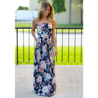 Multicolor Vacation Sleeveless Women Summer Dress Backless Behomian Long Dress Strapless Sexy Boho Maxi Beach Dress Women