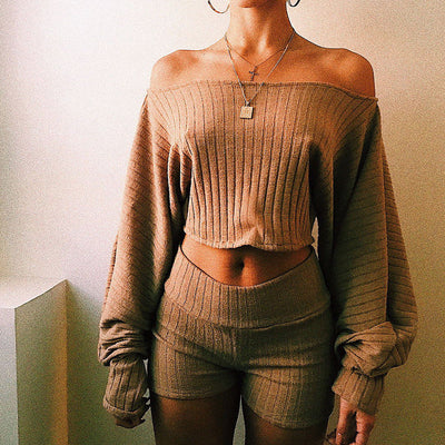 NEW Sexy Womens Off the Shoulder Tops Fashion V Neck Long Sleeve Knitted T-shirt Casual Crop Tops Ladies Oversize Tee Top