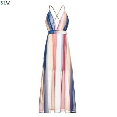 NLW Sexy V Neck Colorful Long Dress Women NEW Summer Beach Party Dress Sexy Backless Strap Chiffon Plus Size Vestido