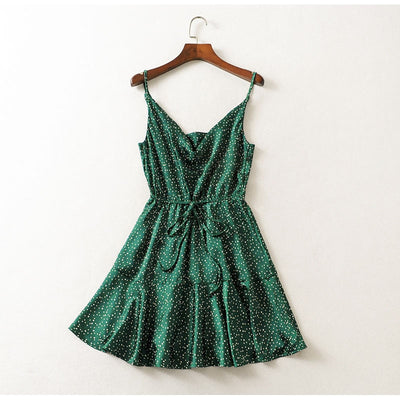 NLW Vintage Green Polka Dot Stain Dress Women Summer Sexy Strap Backless Short Dress Girl Stylish Party Dress Vestidos