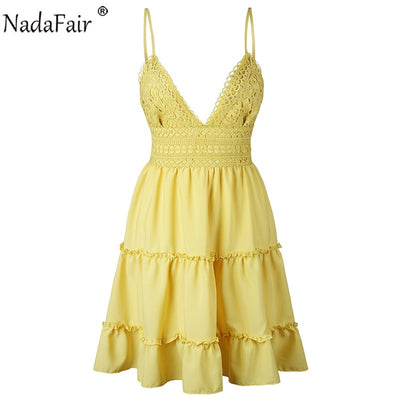 Nadafair Backless V Neck Lace Patchwork Summer Dress Women Strap Casual Mini Elegant Party Dresses
