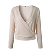 Nadafair Deep V Long Sleeve Sweater Women Solid Color Pullovers Autumn Sweaters Loose Criss-Cross Sexy Knitted Jumper Female