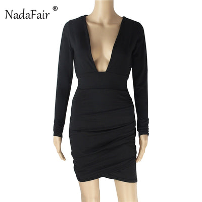 Nadafair Long Sleeve Backless Bodycon Dress Red Black Draped Women Autumn Dresses Deep V Hollow Out Wrap Sexy Party Club Dress