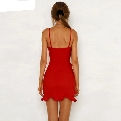 New Strap Ruffles Mini Summer Dress Women Red Black White Elegant Slim Dress Sexy Backless Club Bodycon Party Dresses