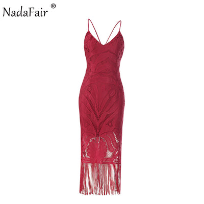 Nadafair Spaghetti Strap Tassel Backless V Neck Slim Midi Women Lace Dress Autumn Sexy Club Bodycon Party Dresses