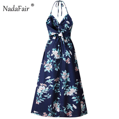 Nadafair Vintage Floral Print Long Dress Women Backless Bandage Sexy Summer Beach Dress Split Cut Maxi Halter Boho Dress Blue