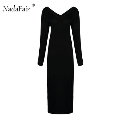 Nadafair autumn winter knitted sweater bodycon dresses women v neck long sleeve pencil sexy midi dresses elastic slim long dress
