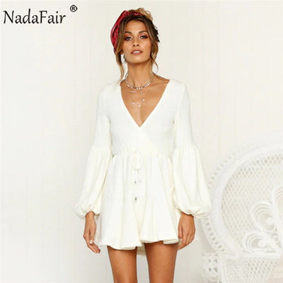 Nadafair long puff sleeve autumn winter knitted dresses women deep v neck casual elastic waist lace up sweater sexy mini dress