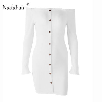 Nadafair off shoulder backless bodycon winter dress women long sleeve sexy mini dress female single breasted wrap dress