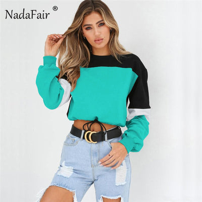 Nadafair patchwork loose casual hoodies women sweatshirts autumn elastic waist tracksuit for girl sexy crop tops sudadera mujer
