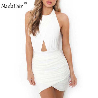 Nadafair red black white backless halter summer dress women sleeveless hollow out wrap ruched mini sexy club party dress
