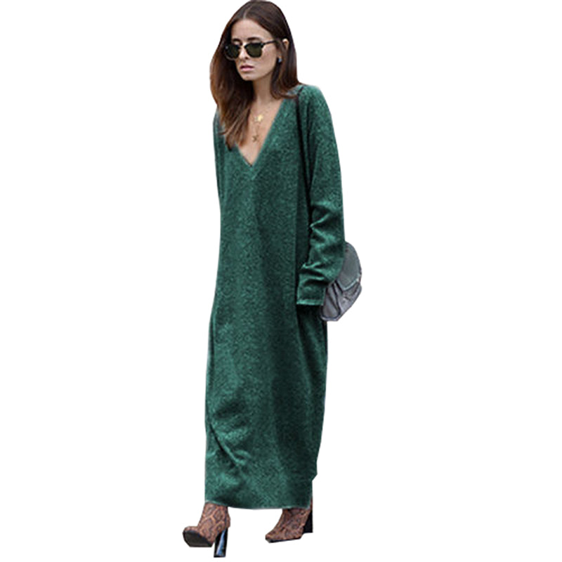 Nadafair v neck knitted long dress women autumn winter full sleeve solid  pencil sweater dress female 55aabdbe1