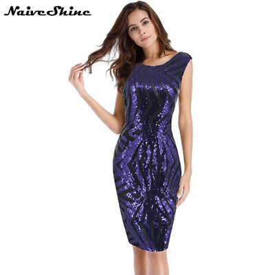 Naive Shine Women Summer Elegant Vintage Sequin Dress Sleeveless Back V-neck Sexy Backless Bodycon Party Dresses Vestidos