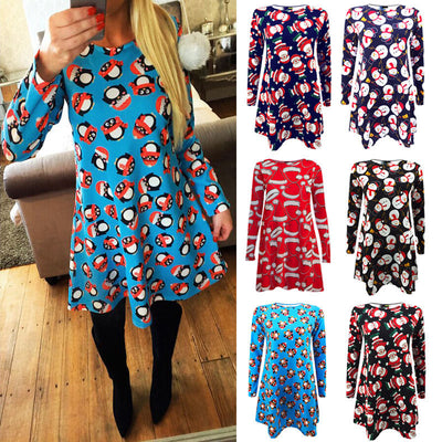 New autumn women pattern print dress Womens Ladies Long Sleeve Santa Christmas Swing Xmas Dress