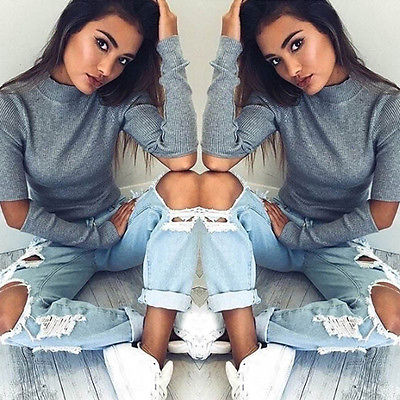 New Round Neck Hedging Sweatshirt Sexy Women Female Solid Sweatshirt Hole Long Sleeve Crop Top Coat Pullover Tops