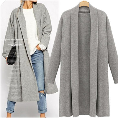 New Autumn Sweater Women Plus Size Fashion Long Sueter Cardigan Feminino Casual Knitted Long Sleeve Outerwear Tops