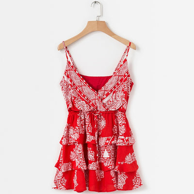 New Bohemian Dress Summer Women Red Floral Print Beach Summer Dresses And Sundresses Female Backless Ruffle Mini Boho Dress