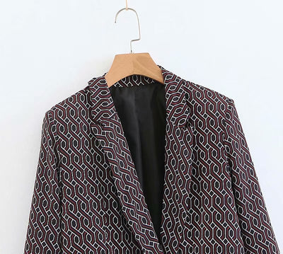 New Fashion Geometric Print Women Autumn Blazer Long Sleeve Office Lady Vintage Notched Coat Casual Pockets Outerwear Tops