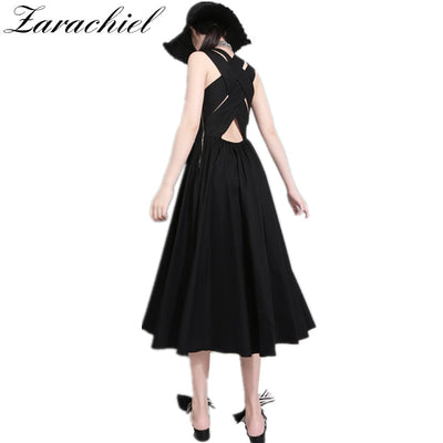 New Summer Brand Design Elegant Women Sleeveless Vest Dresses Ladies Sexy Cross Tied Backless Hollow Out Long Dresses