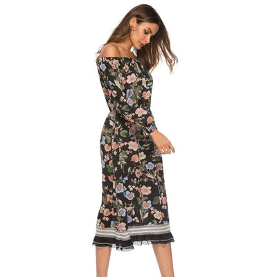 New summer women dress strapless fashion ladies loose dress printed backless street Vestidos women clothing