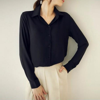 New Arrival Solid Color Work Plus Size Women Blouse Chiffon Blusas Femininas Tops Elegant Ladies Formal Shirt