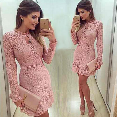 New Arrive Vestidos Women Fashion Casual Lace Dress O-Neck Sleeve Pink Evening Party Dresses Vestido de festa Brasil Trend
