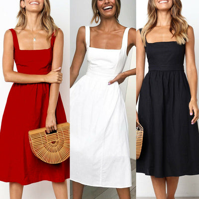 New BOHO Women Ladies Summer Beach Midi Dress Holiday Strappy Evening Party Sun Dresses Black Red White
