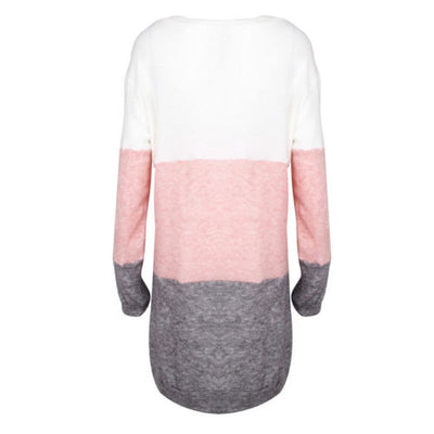 New Casual Loose Long Sleeve Sweater Womens Ladies Cotton O-Neck Knitwear Pullover Long Jumper Winter Tops