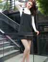 New Casual Striped Overalls Dress Sleeveless Straight Mini Preppy Style Backless Dresses Women Slim Vestidos DJ6611