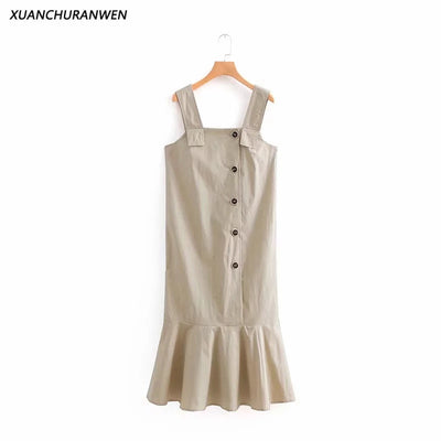New Casual Summer Cotton Dress Spaghetti Strap Buttons Ruffle Backless Dress Women Sleeveless Tank Dress NX8741