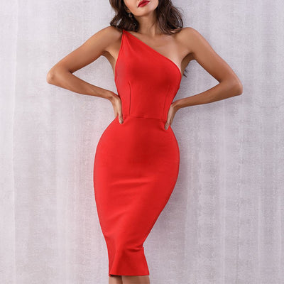 New Celebrity Party Bandage Dress Women Red Sleeveless One-Shoulder Sexy Night Out Club Backless Dress Women Vestidos Wholesale